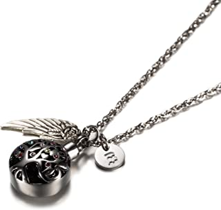 Cremation Jewelry Initial Necklace Tree of Life with Multicolor Crystal &Angel Wing Charm Urn Memorial-Ashes Holder Keepsake