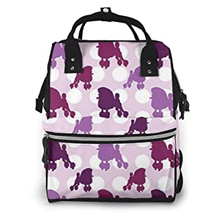 Purple Poodle Polka Dot Print Diaper Bag Backpack,Multi-Function Maternity Nappy Bags For Travel,Large Capacity,Waterproof...