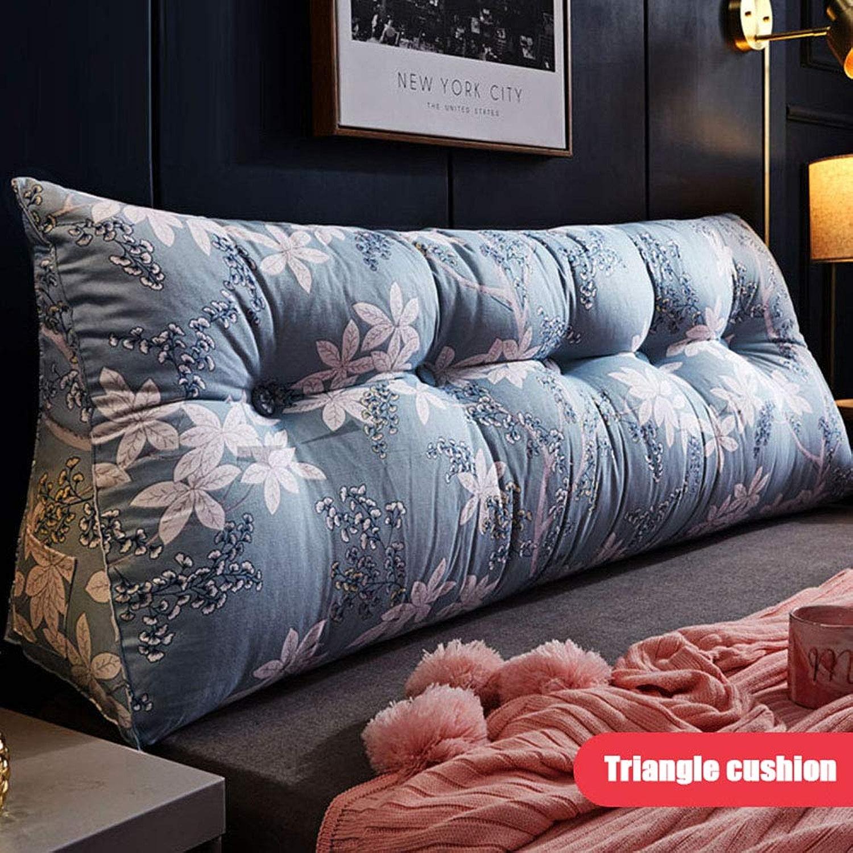 Triangulaire coussin Appui-tête de lit de chambre à coucher Doux confortable coussin de taille Simple coussin de dossier Lavable,bleu,180X23X50CM