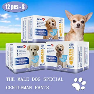 senye Dog Diapers for Male Dog, Ultra Protection Super Absorbent Disposable Dog Diaper, 12 PCS