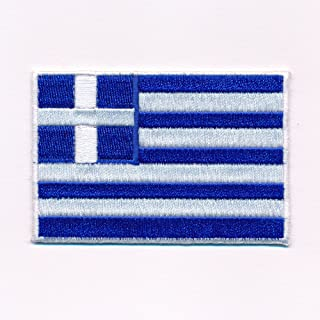 80 x 50 mm Griechenland Flagge Athen Greece Patch Aufnäher Aufbügler 0637 X