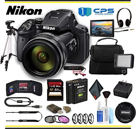 $871 Get Nikon COOLPIX P900 Digital Camera (26499) Professional Bundle W/Bag, Extra Battery, LED Light, Mic, Filters, Tripod, Monitor and More