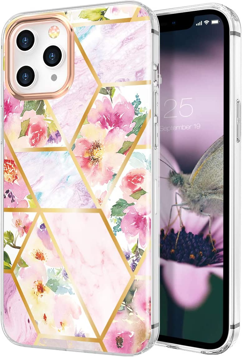 zelaxy Case Compatible with iPhone 12 / iPhone 12 Pro,Shockproof Protective Anti-Slip Slim Hard Shell Bumper Cute Floral Flower Case for iPhone 12 / iPhone 12 Pro 6.1 inch (Marble Moss)