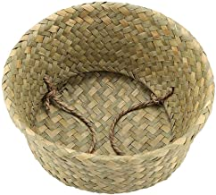 HERCHR Seagrass gevlochten mand met handvat picknickmand wasmand stof (natuur)