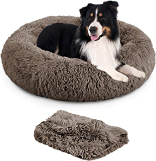TR pet Calming Dog Bed Anti-Anxiety Donut Cat Ded Warming Cozy Soft Round Dog Bed with Removable Blanket for Large Medium ...