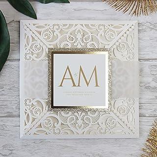 50 CARTE CONFEZIONE Carta con busta partecipazioni matrimonio taglio laser fai da te crema inviti matrimonio