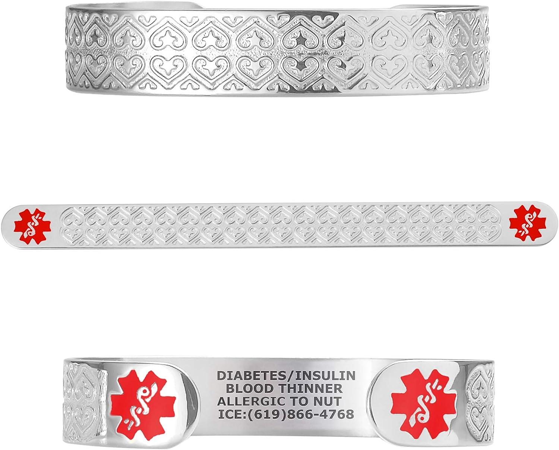 Divoti Custom Engraved Medical Alert Bracelets for Women, Stainless Steel Medical Bracelet, Medical ID Bracelet w/Free Engraving - Valentine Heart w/ 6