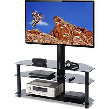 TAVR Swivel Floor TV Stand with Mount 3-in-1 Flat Panel Height Adjustable Glass Entertainment Stand for 32 37 42 47 50 55 60 65 inch Plasma LCD LED QLED Flat/Curved Screen TV 3-Tier Media Stand