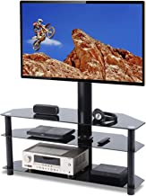TAVR Swivel Floor TV Stand with Mount 3-in-1 Flat Panel Height Adjustable Entertainment Stand for 32 37 42 47 50 55 60 65 inch Plasma LCD LED QLED Flat or Curved Screen TV 3-Tier Media Stand TW1002