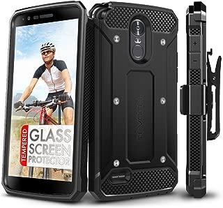 LG Stylo 3 Case, Evocel [Explorer Series] with Free [LG Stylo 3 Glass Screen Protector][Full Screen Coverage] Premium Full Body Case [Slim Profile][Belt Clip] for LG G Stylo 3 (2017 Release), Black