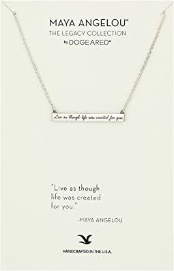 Dogeared - Maya Angelou: Live As Though Life: ID Bar Necklace