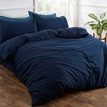 Brentfords Washed Linen Duvet Cover with Pillow Case Soft Brushed Microfiber Non-Iron Bedding Set, Navy Blue, - Super King