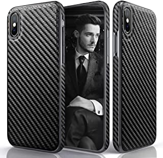 iPhone Xs Max Case, LOHASIC Premium Leather Slim & Thin Luxury PU Soft Flexible Defender Bumper Anti-Slip Grip Protective Cover Cases Compatible with Apple iPhone Xs Max (2018) - Carbon Fiber