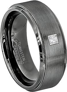 0.05ctw Solitaire Princess Cut Diamond Tungsten Ring - 8MM Comfort Fit Gunmetal (dark gray) Tungsten Carbide Wedding Band - April Birthstone Ring