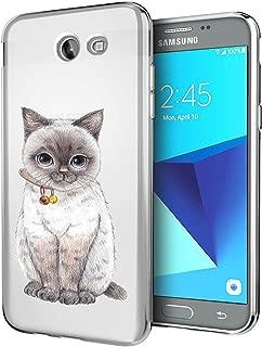 Matop Compatible for Samsung Galaxy J7 V/J7 Perx/J7 Sky Pro/J7 Prime/J7 2017/Galaxy Halo Case,Ultra Slim Soft TPU Shockproof Protective Case Girl Cat Pattern Bumper Back Cover (Gray cat)