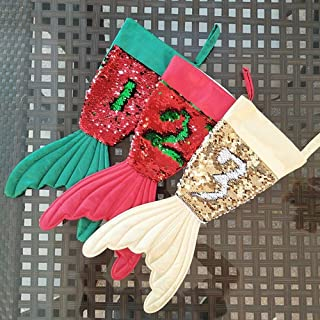 Christmas Supplies Color Beads Beauty Fishtail Christmas Socks Gift Bags Christmas Decoration,Durability (Color : Three-Piece, Size : 39 * 16.5 * 20)