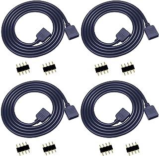 TronicsPros 4pcs 2m/ 6.6ft RGB LED Strip Extension Cable 4 Pin Flex LED Tape Extension Cord LED Ribbon LED Rope Light Conn...