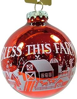 Glass Red Bless This Farm Bulb Animal Pig Cow Sheep Lamb Christmas Tree Ornament