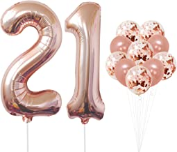21 Number Balloons, Rose Gold - 21 Birthday Decorations   21st Birthday Balloons Foil Mylar Rose Gold Balloons for Rose Gold Party Supplies   21 Birthday Party Decorations with 32 Foot Balloons String