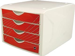 5/scomparti colore: grigio chiaro//lampone traslucido scrivibile helit h6129426/cassetti Box Economy