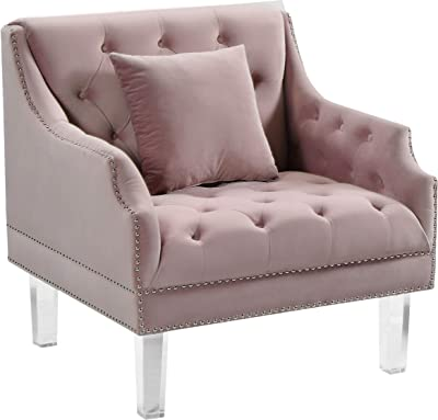 """Meridian Furniture 635Pink-C Roxy Collection Modern   Contemporary Velvet Upholstered Chair with Luxurious Deep Tufting, Nailhead Trim and Acrylic Legs, Pink, 33.5"""" W x 32"""" D x 35"""" H"""