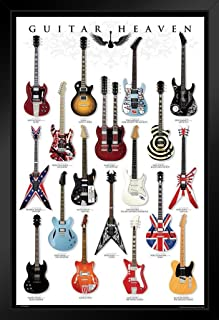 Pyramid America Guitar Heaven Famous Classic Electric Collection Rock Star Music Black Wood Framed Poster 14x20
