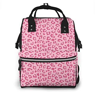 Diaper Backpack, Large Multifunction Waterproof Travel Backpacks for Mom/Dad, Durable Maternity Baby Nappy Casual Shoulder Bags - Pink Cheetah Leopard