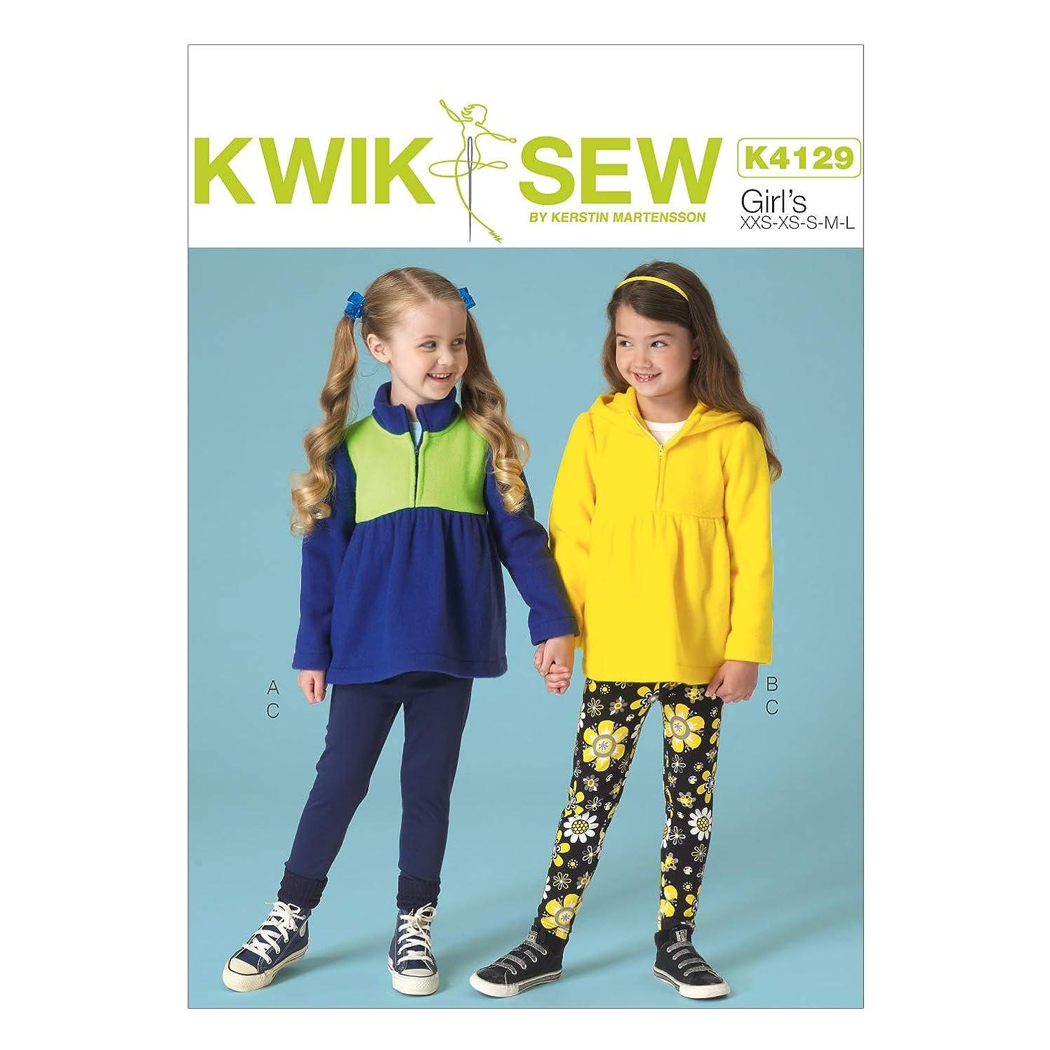 KWIK-SEW PATTERNS K4129 Girls' Tops & Leggings, All Sizes (XX-Small-Large)