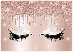 Allenjoy Eyelashes Rose Drips Pink Glitter Backdrop 7×5ft Makeup Artist Background Sweet Girls Spa Fashion Party Banner De...