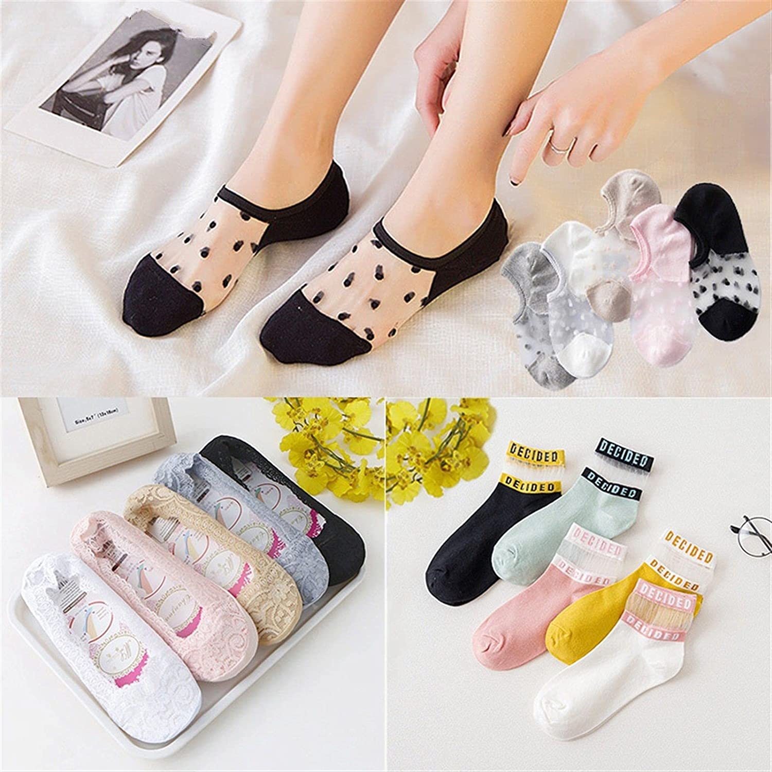 5 Pairs Women's Lace No Show Socks Low Cut Non Slip, Invisible With Flats, Boat Liner Socks (Color : 24, Size : 5 Pairs)