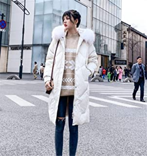 Women's Down Coat with Hood Thicker Winter Slim Down Jacket Long Puffer Jacket Lady Long White S