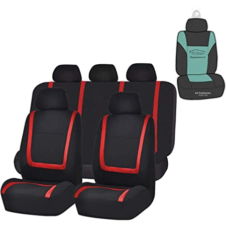5 Detachable Headrests and Solid Bench Red//Black- Fit Most Car or Van Truck Suv FH Group FH-FB032115 Unique Flat Cloth Seat Cover w