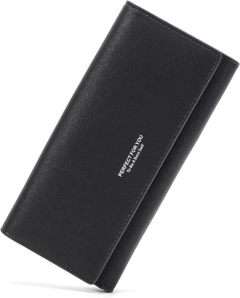Lifeeasy, portafoglio, porta carte di credito, multitasche, in pelle, nero