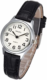 Top Plaza Womens Leather Watch,Fashion Casual Dress Watches,Roman Numerals Quartz Ladies Black Wrist Watch