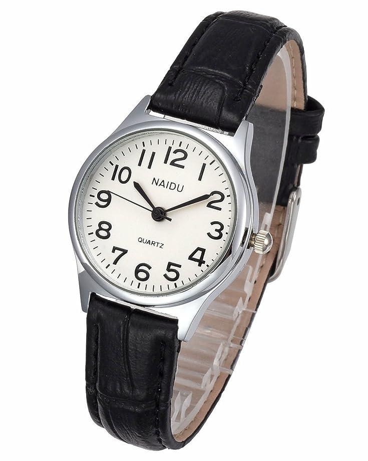 Top Plaza Womens Leather Watch,Fashion Casual Dress Watches,Roman Numerals Quartz Ladies Black Wrist Watch