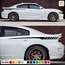 Gold Fish Decals Rear Quarter Racing Spear Stripe Kit Sticker Decal Graphic Compatible with Dodge Charger 2011-2017