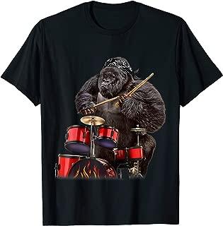 Drummer Gorilla Playing Drum, Rock n Roll T-Shirt