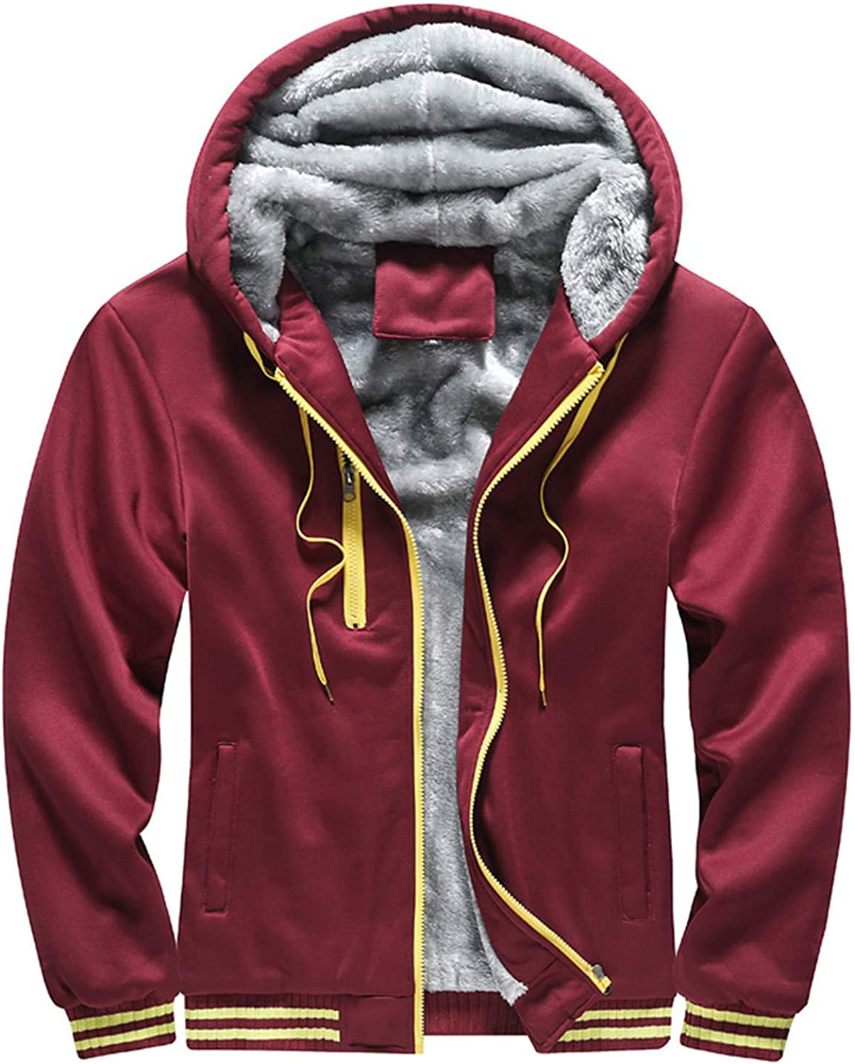 Clearance Heavyweight Fleece Hoodie for Men Sherpa Lined Full Zip Up Long Sleeve Winter Jacket Coat Pullover (Red Wine,Large)