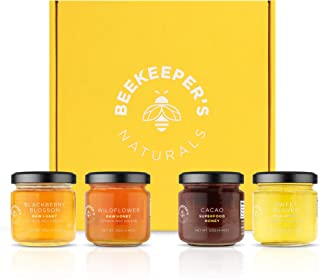 BEEKEEPER'S NATURALS 100% Raw Honey Sampler Gift Box- Eco-Friendly, Non-Toxic, Non-GMO, Gluten-Free, Palm-Oil Free, Vegan,...