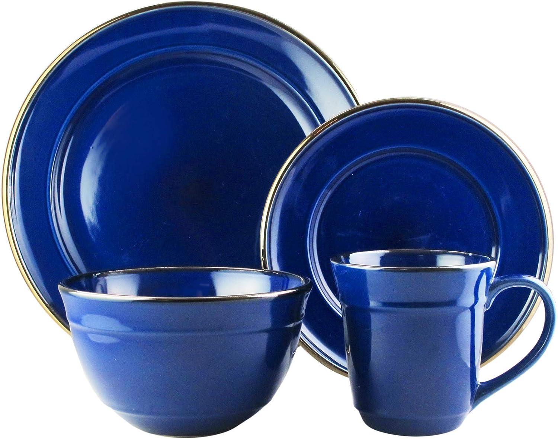 American Atelier 6924-16CB-RB Lucienne 16 Piece Round Dinnerware Set 10.75x10.75  Cobalt bluee