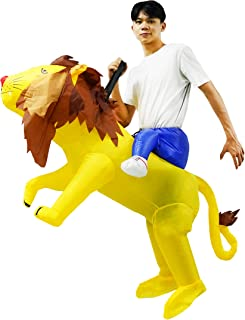 Inflatable Lion Costume Ride on Lion Suit Child Fancy Party Dress for Boys Girls Halloween Yellow