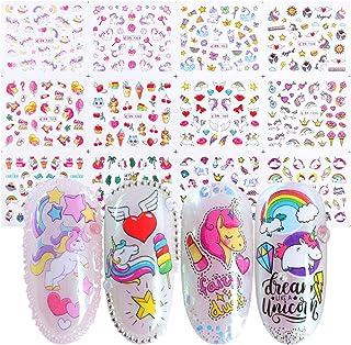 Unicorn Nail Art Stickers for Girls 12 Sheets Cute Nail Beauty Supplies Decals Unicorns Stars Moons Cherries Flamingos Rai...
