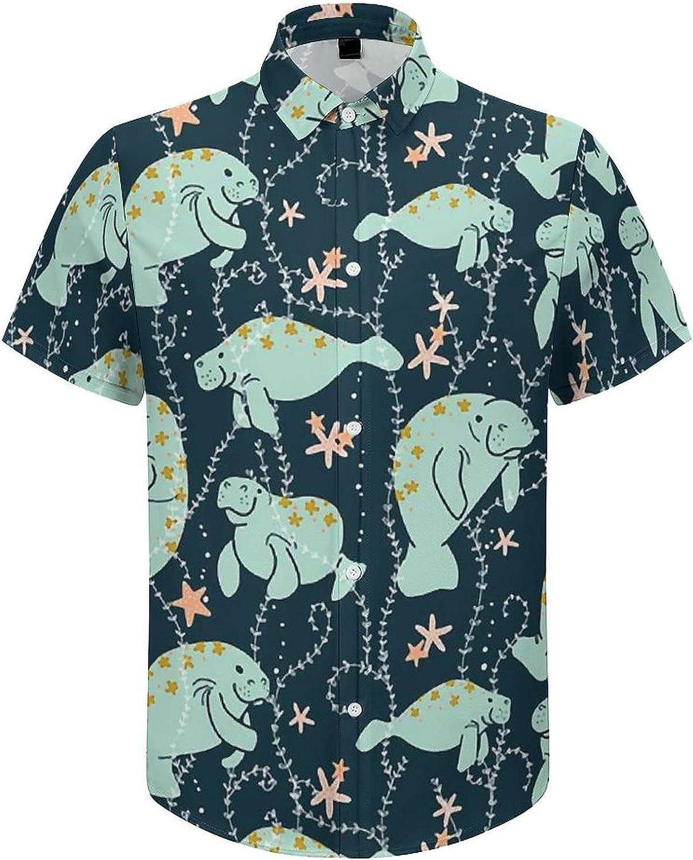 UOER Men's Button Down Shirt Manatee Casual Shortsleeve Beach Dress Shirts for Holiday