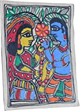 Framed Handpainted Radha and Krishna Madhubani Painting On Handmade Paper Depicting Stories from India Folklore Made by Artist of Bihar with History Which Dates Back from The Days of Ramayana