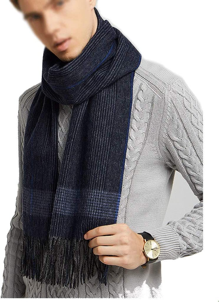 KGDC Scarves Shawls Men's 100% Wool High-Grade Scarf Men's Winter Thick Warm Scarf Birthday Gift Fashion Scarf (Color : B)