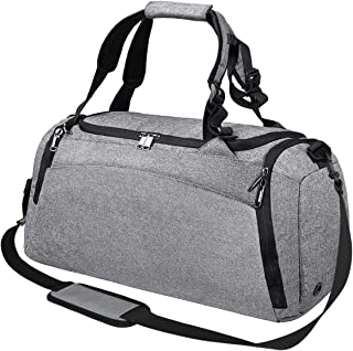 Gym Duffle Bag Waterproof Travel Weekender Bag for Men Women Duffel Bag Backpack with Shoes Compartment Overnight Bag 40L Grey