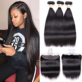VTAOZI Brazilian Straight Human Hair 3 Bundles with Frontal Lace Closure 13x4 Ear to Ear Lace Frontal with Bundles 8A 100% Unprocessed Virgin Hair Extensions Natural Color (10 12 14 with 10 Frontal)