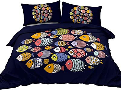 BlessLiving Cute Fish Bedding Colorful Tribal Motif Pattern Duvet Cover with Zipper Ties 3 Piece Luxury Quality Soft Lightweight Breathable (Full)