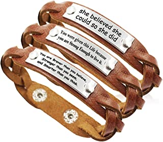 YOYONY Men's/Women's Inspirational Message Braided Leather Bracelets/Bangles for Sports.