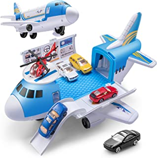 Airplane Car Toys, Geyiie Aircraft Car Set Toys with 5pcs Vehicle Car, Parking Scene Game with Stickers, a Helicoper Toy for Kids Toddlers Boys Girls Gift